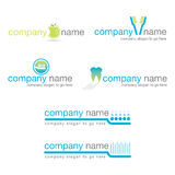 Set von sechs zahnmedizinischen Zeichen Lizenzfreie Stockfotos