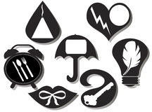 Set von sieben unterhaltenden Ikonen Lizenzfreies Stockbild