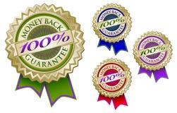 Set von vier 100% Geld-rückseitigen Garantie-Emblem-Dichtungen Lizenzfreies Stockfoto