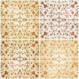 Set von vier Blumenhintergründen der nahtlosen Weinlese Lizenzfreies Stockfoto