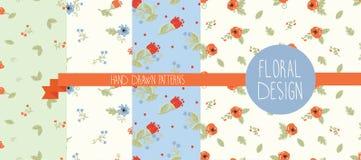 Set von vier Blumenmustern Lizenzfreie Stockbilder