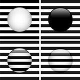 Set von vier Glaskreis-Schwarzweiss-Streifen Stockbilder