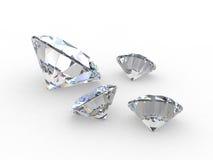 Set von vier runden Diamantedelsteinen Stockfotos