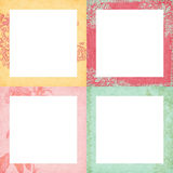 Set von vier schäbigen Blumenfeldern Stockbild