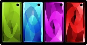 Set von vier vertikalen farbigen Fahnen Stockbilder