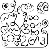 Set von zwanzig schwarzen Schlangen Lizenzfreie Stockbilder
