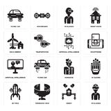 Set of Vr glasses, Robot, Jet pack, Humanoid, Artificial intelligence, Eolic energy, Flying car icons. Set Of 16 simple  icons such as Vr glasses, Robot, Flying Stock Image