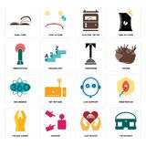 Set of vr headset, car dealer, folded hands, live support, 360 degree, concierge, penetration, electric meter, page turn icons. Set Of 16 simple  icons such as Stock Photography