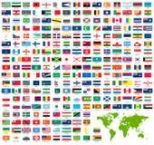 set värld för färdig flaggaofficiell Arkivfoton