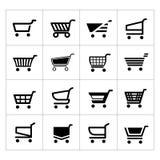 Set wózek na zakupy ikony Zdjęcie Stock