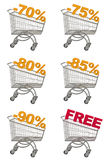 Set wózek na zakupy z rabatem. Obrazy Royalty Free
