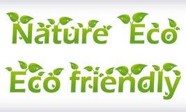 Set Wörter mit Blättern Lizenzfreies Stockfoto