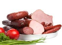Set Würste und geräuchertes Fleisch Stockfotografie