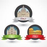 Set Włochy sławni zabytki Mediolańska katedra bazylika, Colosseum i St Peter ilustracja wektor