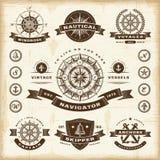 Rocznik nautyczne etykietki ustawiać Zdjęcia Royalty Free