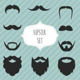 Set wąsy i broda rocznika elementy Obrazy Stock