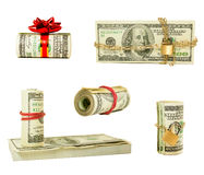 Set of wads and stacks of US one hundred dollars. Set of wads and stacks of US one hundred dollar bills isolated over white background Royalty Free Stock Photos