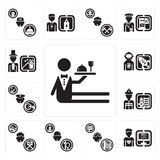 Set of Waiter, Programmer, Support, Priest, Photographer, Firefighter, Policeman, Spaceman, Magician icons. Set Of 13 simple  icons such as Waiter, Programmer Stock Images
