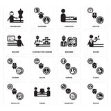 Set of Waiter, Secretary, Detective, Chemist, Courier, Engineer, Teacher, carpenter, Dressmaker icons. Set Of 16 simple  icons such as Waiter, Secretary, mover Royalty Free Stock Image