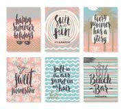 Set wakacje letni, tropikalni urlopowi plakaty i kartka z pozdrowieniami Fotografia Stock