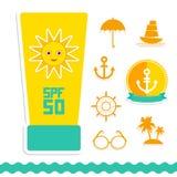 Set wakacje plaża Parasolowy słońce statek Zdjęcia Royalty Free