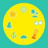 Set wakacje plaża Parasolowy słońce statek Zdjęcia Stock
