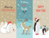 Set Wakacyjni kartka z pozdrowieniami z niedźwiedziem polarnym, pingwinami, rogaczem i ptakami, royalty ilustracja