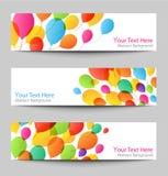 Set wakacyjni sztandary z kolorowymi balonami Obrazy Royalty Free