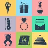 Set walentynek ikony w czarnym kolorze na koloru tle Obraz Royalty Free