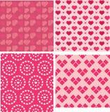 Set walentynki serca bezszwowi wzory Obraz Stock