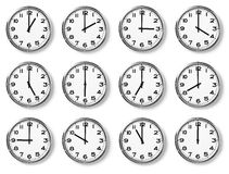 Set of wall clocks Stock Photo