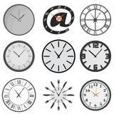 Set of wall clocks royalty free illustration