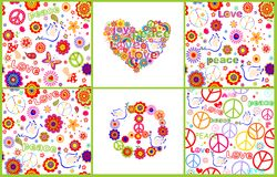 Set of wallpaper with colorful abstract flowers, hippie symbolic, mushrooms and doves Royalty Free Stock Photos