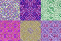 Set of wallpaper cubic floral seamless generated textures Royalty Free Stock Photography