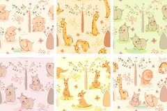 Set wallpaper wild animals. Set kids wallpaper background with wild cute animals Royalty Free Stock Photos