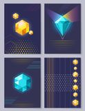 Set of Wallpapers 3D Figures Vector Illustration. Set of wallpapers 3d figures on dark background. Vector illustration with geometric beautiful shiny diamonds Royalty Free Stock Photography