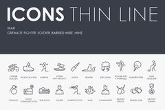 WAR Thin Line Icons Stock Images