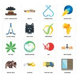 Set of wardrobe, free delivery, grizzly bear, cat, pot leaf, checkmark, hockey sticks, fishing hook, happy thanksgiving icons. Set Of 16 simple  icons such as Royalty Free Stock Images