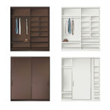 Set Of Wardrobes. With Clothing  On White Royalty Free Stock Photo