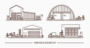 Set of warehouse buildings of different shape with freight transport. Isometric. Lineart. Contour illustration. Stock Images