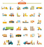 Set of Warehouse Icons in Flat Design Royalty Free Stock Photos
