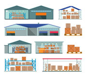 Set of Warehouses for Goods Storing and Delivering. Royalty Free Stock Image