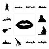 Set wargi, Cincinnati linia horyzontu, Pittsburgh żyrafa, Austin władyki shiva konturu wizerunki na białym tle, wizerunków les Pa Zdjęcia Stock