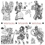 Set with warlocks and magicians. Vector illustrations, doodle drawings. Graphic collection with hand drawn characters of warlocks, wizards and witches Stock Images