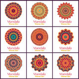 Set with warm color mandalas. Royalty Free Stock Photography