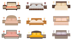 Set of warm colors nine bed with bedside tables, lamps and headboards. Flat style vector illustration Stock Photos