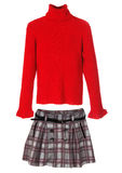 Set of warm female clothes isolated on white. Sweater and skirt. Stock Image