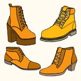 Set of Warm female half-boot Royalty Free Stock Photos