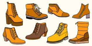 Set of Warm female half-boot Stock Images