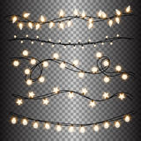Set of warm light lamps garlands, festive decorations. Glowing christmas lights  on transparent background Royalty Free Stock Images